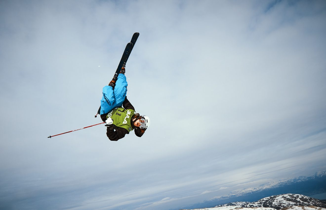 An acrobatic skier